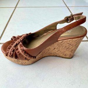 Aldo Brown Wedge Ruffle Sandals